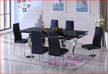 modern furniture T-376 glass extendable table