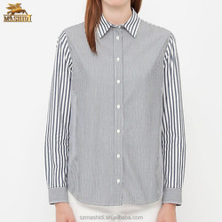 top fashion brands simple design long sleeve stripes office shirts for ladies