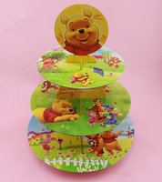 Free Shipping Cartoon Winnie Birthday Baby Shower Party Cardboard Cupcake Stand Hold 24 Cupcakes