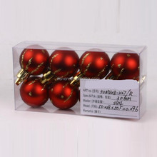 8pcs/box red plastic christmas ball popular blank christmas ornament with gold glitter