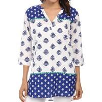 designer fancy kurti indian classic taped boho top white printed pattern cotton tunics for women