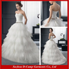 WD-0009 Strapless sweetheart neckline puffy ball gown popular low waist cheap wedding dresses shop in dubai