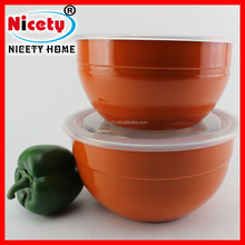 Hot selling orange coloured stainless steel food container / fresh bowl with lid