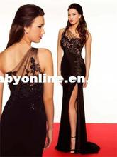 Front Split Wholesale - 2012 New Sexy Black One Shoulder chiffon Applique Lace evening dresses gown Women 78703R