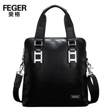 FEGER High Quality Cow Leather Bag for Tablet Slim Leather Men Bag