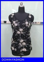 2015 OEM manufacturer wholesale women metallic yarn embroidering flower pearl beads sequin tank top upper