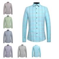 2015 New high quality men's plaid shirts slim fit all matching shirts long sleeve 6 colors M-4XL