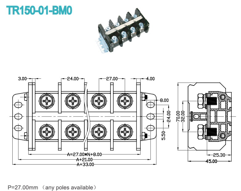 pitch 27 00mm electrical rail terminal blocks connector