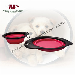 2015 Best Selling Dog Bowl Product Colorful Collapsible Pet Dog Bowl With Hook