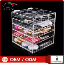 Wholesale customed best selling acrylic makeup organizer with drawer cosmetic display stand