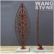 Ancient Art Finished Corten Steel Leaves Sculpture For Interior Ornamental