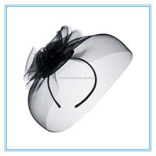 Ladies royal black fascinator flower sinamay hat women hair accessories elegant fascinators for wedding party and races