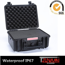 Hard shell plastic transporting case with handle and foam for measuring device storage