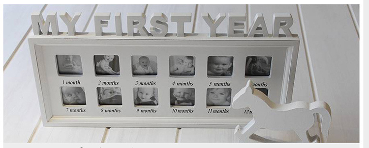 My First Year Baby Wooden Multi Square Photo Frames For Home And ...