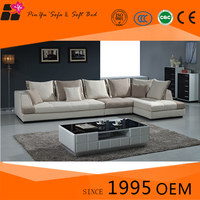2015 Cheap Fabric L- Shaped Modern New Design Corner Sofa With Wooden designs