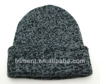 Good quality knitted two color heathered beanie