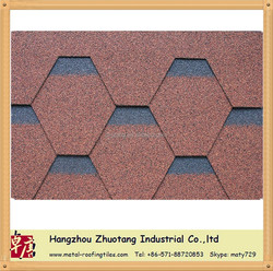 Zhuotang best sell shingles!!! China red mosaic type asphalt shingles/12 colors