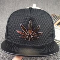 Black polyester 5 panel mesh covered crown leather birm hip hop men cap with metal weed decoration (SU-HPS117)