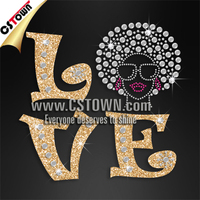 Hot love letters with head portrait rhinestone iron-on transfer designs