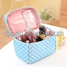 Double Layer Cosmetic Bag Black with White Dot Travel Toiletry Cosmetic Makeup Bag Organizer With Mirror