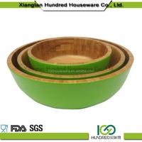 2015 Hot Sale Color Painted Bamboo Salad Bowl, Bamboo Lacquer Bowl, Wood Salad Bowl