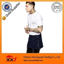 china clothing manufacturers wholesale new design men long line logo t shirt with side zipper online shopping