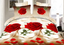 3D Romantic Red Rose Design Cheap Bed Sheet Sets and Fitted Bed Sheet