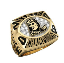 Custom Football League Championship rings with gold plating