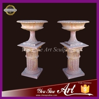 Hand carved natural stone red marble flower planter pots marble vase with column for sale