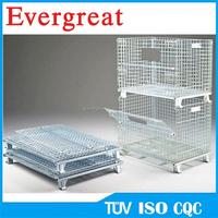 Collapsible wire mesh pallet cage with wheels