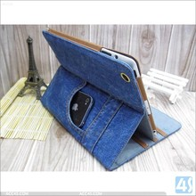 High quality western cowboy jean case for ipad mini 3, for ipad mini 3 jean wallet case