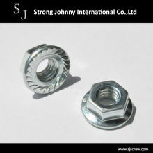 DIN 6923 Steel and White Zinc Plated Serrated Flange Nut
