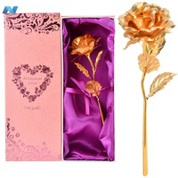 Hot Fashion 25cm 24K Dipped Gold Foil Rose Flower Gift for Birthday Valentine Day Mother Day