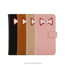 Sweety bow tie leather case for iPhone user young group