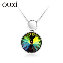 2015 OUXI fashion necklace pendant necklace, crystals from swarovski