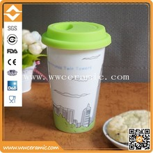 Ceramic single/double wall mug with country interesting places and silicon or plastic lid