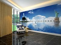 wholesale Eco-friendy 3d huge mural papel de parede city with famous building view for bedroom living room sofa tv wallpaper