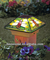 """5"""" Spring Outdoor Garden Solar Fence Light With dragonfly Lamp Square Wall Light"""