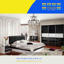 WOW! 8808#W black&white bedroom design/ black leather bed/istanbul furniture