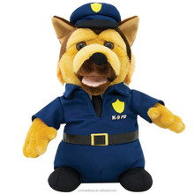 Plush police dog with clothes stuffed police dog toys professional
