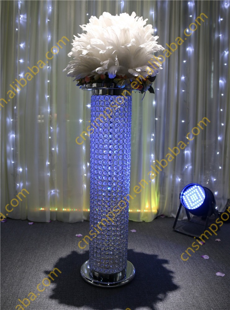 Tall wedding crystal pillar stand flower
