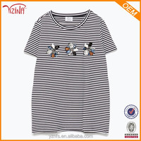 El Ladies Black And White Long Length Fitted T-Shirt Stripes Designs