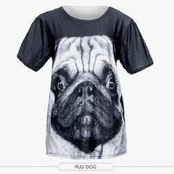 wholesale cheap 3d digital print unisex black puppy dog print oversize t shirt women