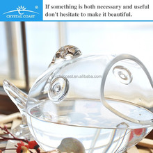 clear large glass fish shaped bowl