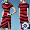 Yihao plus size women clothing new arrival Summer style striped latest dress designs 2015