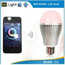 Multiple color mixing led light bulbs 9w lamp e27 e26 b22 support smarphone control