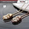Rhodium plated rhinestone pendant bead necklace