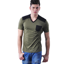 Mens V Neck T Shirt Made Of 100% Cotton Slim Fit Style with Chest Pocket