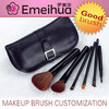 black 6pcs portable make up brush products with makeup traveling bags