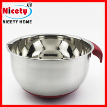 Nicety 20cm stainless steel salad bowl with red silicone handle and bottom